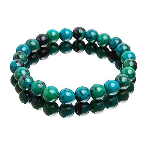 HHYSPA Beads Bracelet,1.96 Inch Turquoise Stones Beads Bracelet with 8mm Beads Natural Healing Power Beads Healing Crystal Quartz Jewelry Women Men Girls Gifts