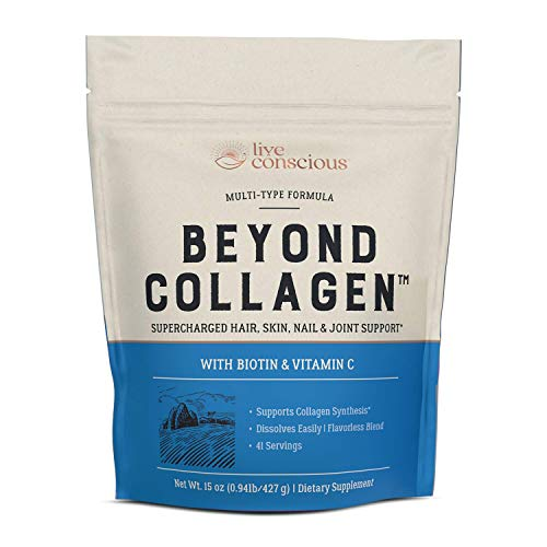 Beyond Collagen Multi Collagen Powder - Types I, II, III, V & X | Keto Friendly, Hydrolyzed Blend with Biotin & Vitamin C | Live Conscious - 41 Servings