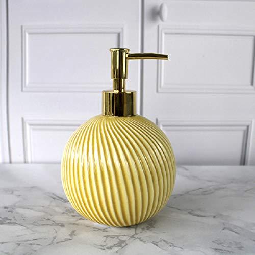 ZJMIQT zeepdispenser, vloeibare zeep geel keramiek badkamer shampoo en douchegel fles met roestvrij staal type gouden kop indrukken