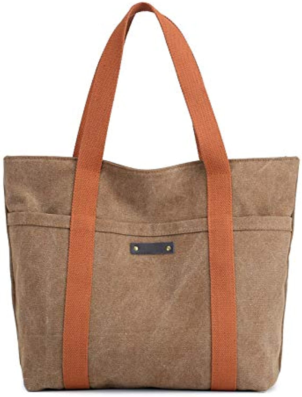 YNNB Retro Canvas damen Bag, Fashion Ladies Canvas Handtasche Large Large Large Capacity Shoulder Bag Wild Travel Bag für Schulkauf und Daily,Coffee B07Q7RTDQL  Professionelles Design 33d8c1