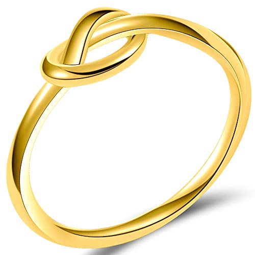 Size 3-13 Stainless Steel Simple Love Knot Celtic Promise Anniversary Statement Ring (Gold, 4)