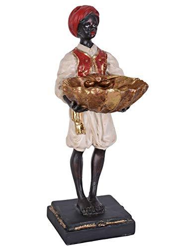 Unbekannt Diener mit Schale Konfektschale Kolonialstil Figur mit Turban Skulptur Dekofigur cw179 Palazzo Exklusiv