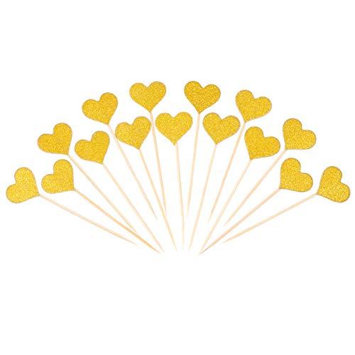 BESTOMZ 50pcs Gold Glitter Herz Kuchen Toppers Hochzeit Dekor