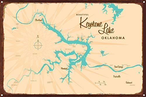 Keystone Lake Oklahoma Map Rustic Metal Art Print by Lakebound 12' x 18'