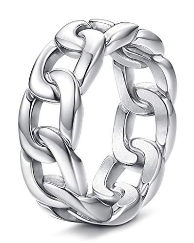 BESTEELE Edelstahl Ring für Herren Vintage Ring Biker Punk Gothic, 8mm Breite, Größe 54-70Silber