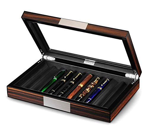 Lifomenz Co Wood Pen Display Box 10 Pen Organizer Box,Glass Pen Display Case Storage Box with Lid,Top Glass Window Pen Collection Display Case