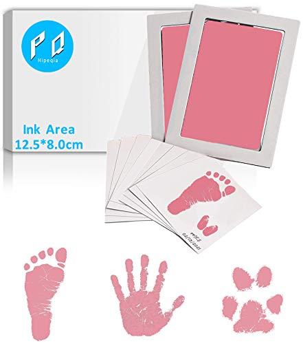 [2er Set Big] Baby Fussabdruck Set, Baby Abdruckset für Neugeborene, Baby Handabdruck und Fußabdruck Set Clean Touch Stempelkissen, Baby Handprint, Babyhaut kommt nicht mit Farbe in Berührung, Rosa