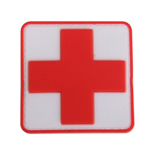 Kirmax Parche De Insignia De Gancho De La Cruz Roja De PVC De Primeros Auxilios Al Aire Libre