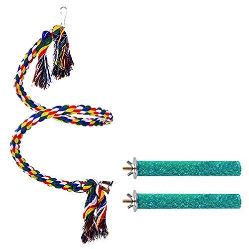 xiangqian Cuerda en espiral de colores para pájaros, pequeño pájaro, loro, juguete para cockatiel Budgie (3 unidades)