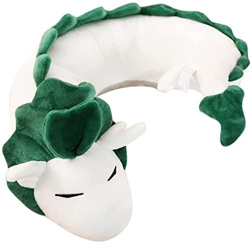 QDPJ Cojín de cuello de pequeño dragón blanco, fácil de transportar, almohada de cuello de viaje, mejor almohada para dormir cervical, animación, para adultos y niños