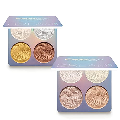 Ownest 2 Pcs Highlighter Makeup Palette Set, Lusterous Luster Super Silky Texture, Long Lasting Waterproof Glow Bronzer Highlighter Powder Kit-8 Coule