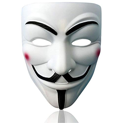 V for Vendetta Mask Anonymous Hacker Mask Halloween Costume Cosplay Anonymous Mask (white)