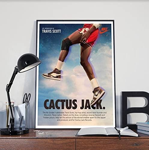 Póster de Cactus Jack, Travis Scott para decoración del hogar, Travis Scott Jordan 1 Wall Art,Sneakers Lover,Off White Air Jordan,Hypebeast Poster C27-7-10
