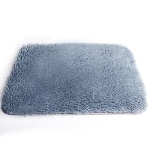 Non Slip Mat for Living Room Bed Room Restaurant Bathroom (16 x 24) Water Absorbent Soft Microfiber Shaggy Machine Washable Thick Plush Rug Dry Absorbent Mats (Gray)