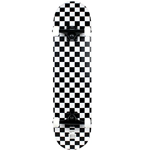 Krown Rookie Checker Skateboard, Black/White, 7.75'