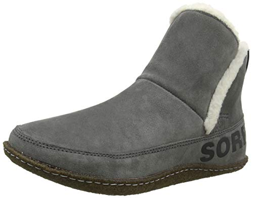 Sorel - Women's Nakiska Bootie House Slippers with Suede and Faux Fur Lining, Quarry/Natural, 8.5 M US