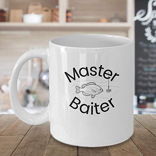 N\A Regalos Divertidos para él Taza de café de Pesca inspiradora Master Baiter Taza de cerámica Tazas para Amigos