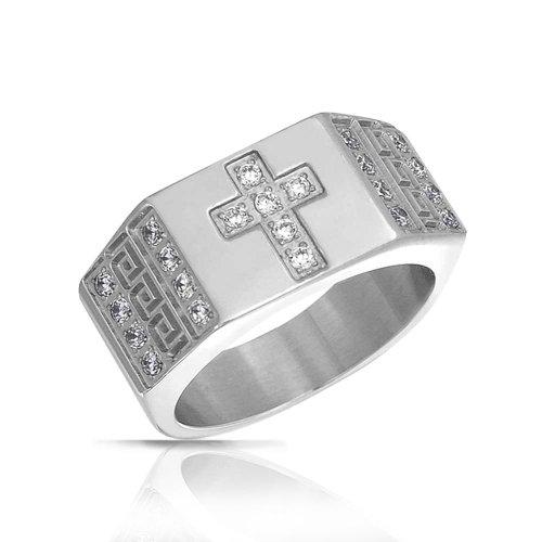 Bling Jewelry Todo Religioso Zirconio Cúbico CZ Anillo De Cruz Griega