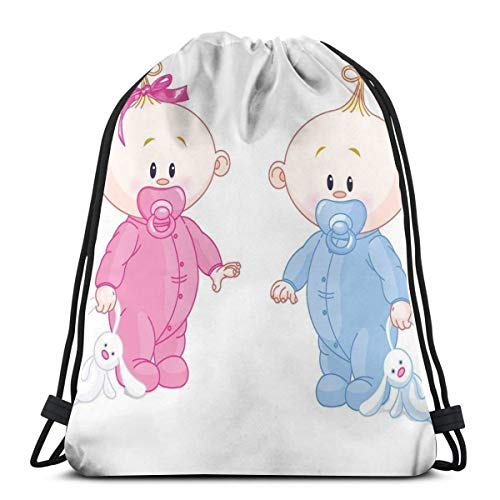 LLiopn Drawstring Sack Backpacks Bags,Cheerful Boy and Girl Children with Bunny Pacifiers Twins,Adjustable.,5 Liter Capacity,Adjustable.