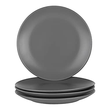10 Strawberry Street Wazee Matte - 10.5  Coupe Dinner Plate - Set of 4 - Gray