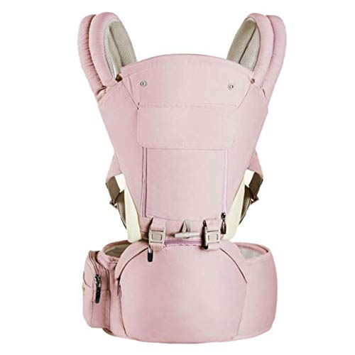 HTTIB Adapt Baby Carriers Front and Back with Hood Adjustable Hip Seat-Ergonomic 360° Baby Soft Carrier, Comfortable Adjustable Positions,Breastfeeding Fits All Newborn Toddler (Color : PINK B)