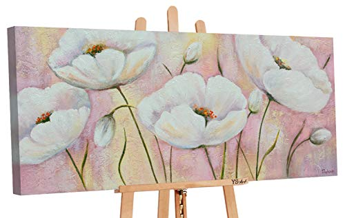 YS Angebot bis zu 10.01 Art | Acryl Gemälde Lieblingsblumen | Handgemalte Leinwand Bilder | 115x50cm | Wand Bild | Moderne Kunst | Leinwand | Unikat | Pink