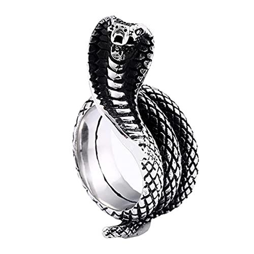 Holibanna Anéis punk vintage em forma de cobra gótica, anel aberto ajustável, anel cobra para homens e mulheres, acessórios retrô para dedo, presente de festa do dia dos mortos