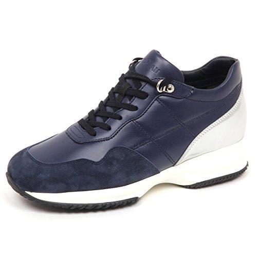Hogan E4502 Sneaker Donna Blu/Silver Interactive Scarpe H cucitura Shoe Woman [39]