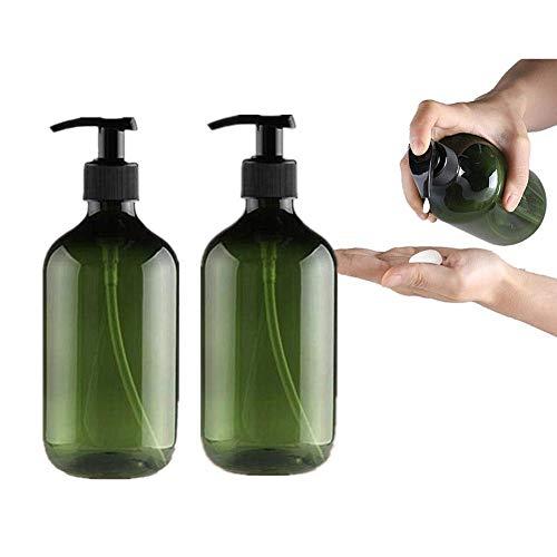hongyupu Dispensador Jabon Dosificador Jabon Baño Botellas de Prensa de Bomba de loción Recargable Botellas vacías Limpiador Facial Botellas green-2pcs,300ml
