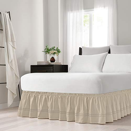 Easy Fit Embroidered Bed Skirt - Baratta Wrap Around Easy On/Off Dust Ruffle 18-Inch Drop Bedskirt, Queen/King, Camel