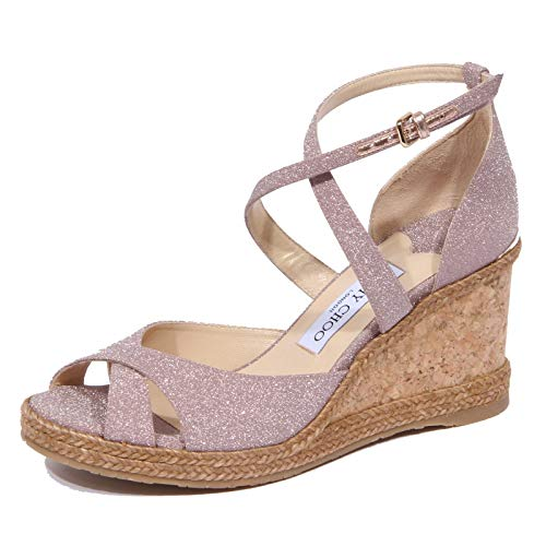 1929J Sandalo Donna Pink Ballet JIMMY CHOO Alanah Zeppa Fine Glitter Shoe Woman