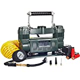 12 Volt Air Compressor, Portable Twin Cylinder Air Pump, 12 Volt, Tire Inflator, Air Compressor by MasterFlow for Inflating Full Size 4 x4, Truck, SUV and RV Tires