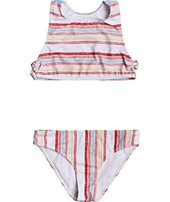 Roxy Girls' Big Enjoying Waves Crop Top Swimsuit Set, Bright White Bruel Stripes Sample, 14