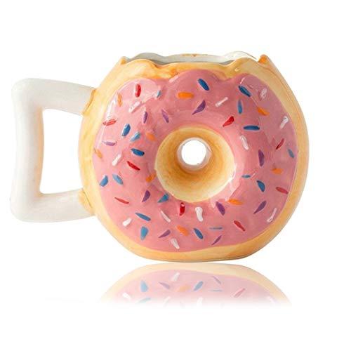 Jiaxingo Donut-Kaffeetasse aus Keramik mit Schokolade glasierter Donut-Tasse mit Streuseln für Jungen und Mädchen, inspirierende Geburtstagsgeschenke