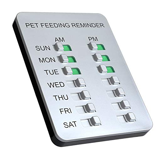 YARKOR Dog Feeding Reminder Magnetic Reminder Sticker,AM/PM Daily Indication Chart Feed Your Pets,Fridge Magnets and Double Sided Tape - Prevent Overfeeding or Obesity (Sliver)
