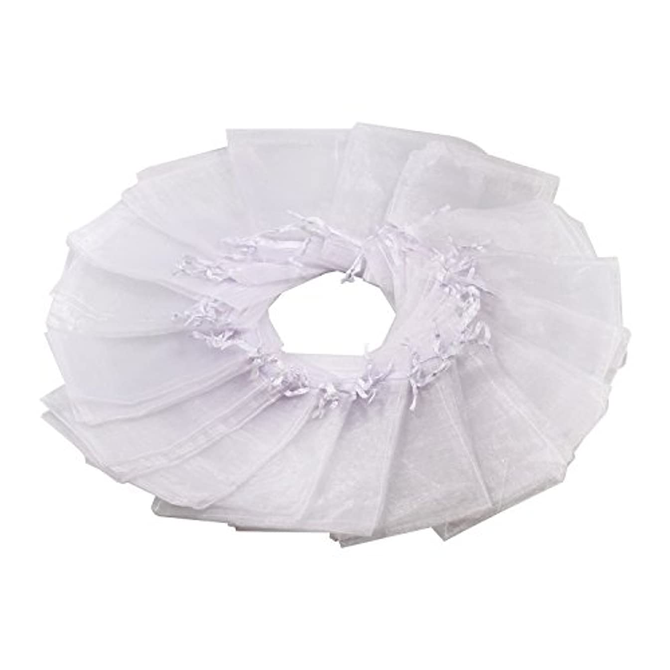100Pcs 4x6 Inches Sheer Drawstring Organza Jewelry Pouches Wedding Party Christmas Favor Gift Bags (White)