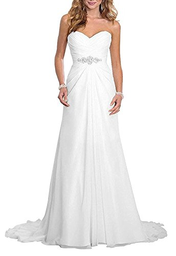 Nina White Strapless Beach Wedding Prom Bridal Chiffon Ruffle Dress 023-16