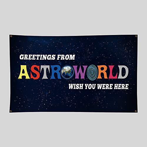 Greetings From Astroworld Flag, 3x5 Feet Flag Banner, Man Cave Wall Flag with Brass Grommets for College Dorm Room Decor,Tailgates,Parties,Gift