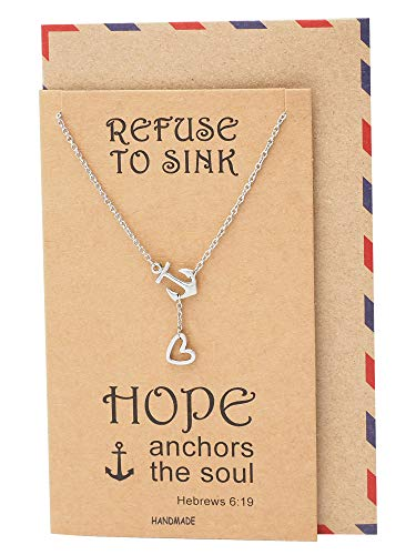 Quan Jewelry New Anchor Necklace, Sailor Pendant with Mini Heart Charm, Seaman Lariat Necklace, Sea Anchor Inspirational Quote on Greeting Card (Silver)