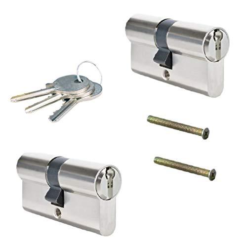 2er 60mm 30-30 Zylinderschloss Einbauschloss Schließzylinder Gleichschliessend mit 6 Schlüssel