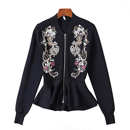 XUEPING Women's Jackets, Long Sleeve Sweater Embroidered Bead Fishtail Slim Zip Cardigan Jacket Coats S XL Black (Size : MUK6EU34)