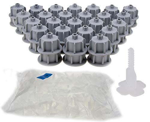 Brunoplast NIVIFIX Fliesen Nivelliersystem - das Original! Starter-Set Basis-Set grau für Wand- und Boden-Fliesen von 12-20 mm Stärke/Dicke, wiederverwendbar Verlegehilfe System aus Kunststoff