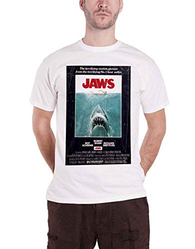 Jaws Vintage Original Poster T-Shirt (White) Official Store T-Shirt - S to XXL