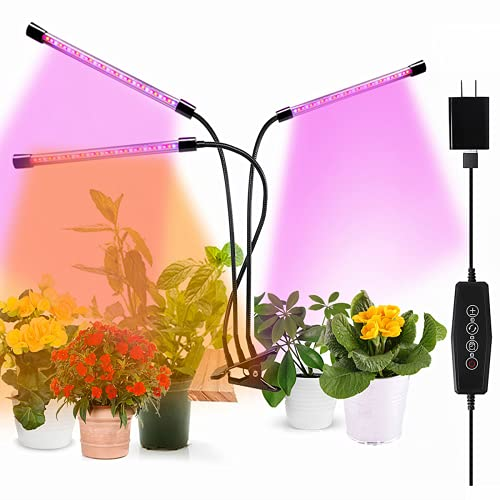 Plant Grow Light , Full Spectrum Clip-on Plant Growing Lamp with White Red Blue Bulbs for Indoor Plants, Dimmable Brightness & 3 Light Modes,Auto On/Off Timing 4 8 12Hrs