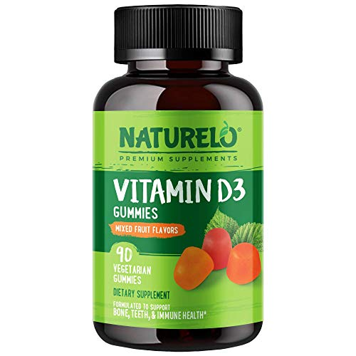 NATURELO Vitamin D3 Gummies for Adults – Non-GMO, Vegetarian, Whole Food - Best Natural D3 Supplement for Bone, Teeth & Immune Health – Mixed Fruit Flavored - 90 Gummies