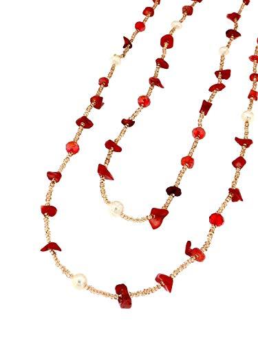 Linea Italia Gioielli - Collana Lunga Multifilo per Donna con Perle e Pietre Naturali color Corallo