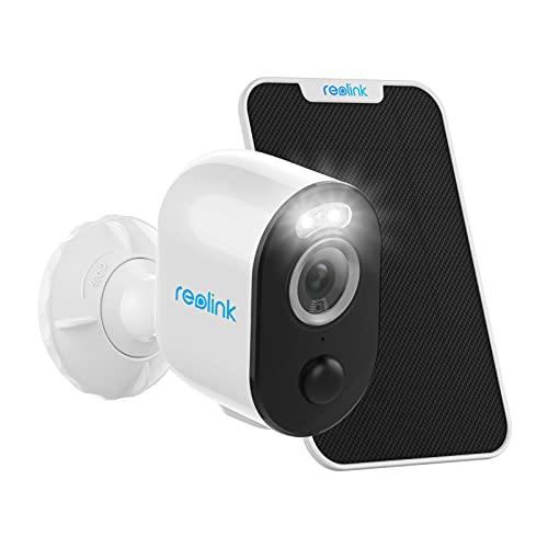Reolink 4MP Cámara Vigilancia Exterior de Batería con Focos, Detección de Personas/Vehículos, Solar Cámara IP WiFi de 2,4/5 GHz, PIR Sensor, 2K Visión Nocturna en Color, Argus 3 Pro con Panel Solar
