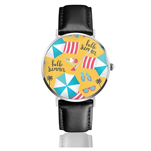 Sommer Sonnenschirme Schwarz Quarzwerk Edelstahl Lederband Uhren Casual Fashion Armbanduhren