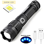 LED Taschenlampe High Lumens Superhelle Taktische XHP50 Taschenlampe mit 5000 lm, USB Wiederaufladbare Taschenlampen, Zoombare Wasserdichte Taschenlampe Außennotbeleuchtung mit Stromanzeige + Akku