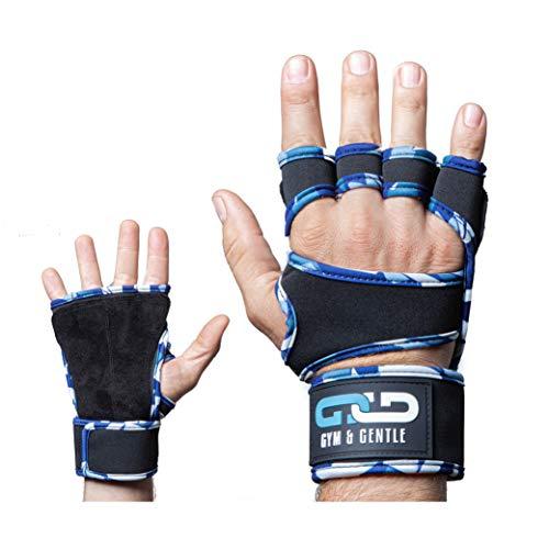 Gym & Gentle Guantes de fitness para hombre y mujer, guantes de entrenamiento, muñequera, entrenamiento de fuerza, culturismo, crossfit (camuflaje azul, XL)